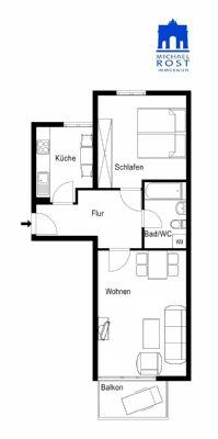 Kapitalanlage: Ideal geschnittene 2-Zimmer Wohnung mit Balkon